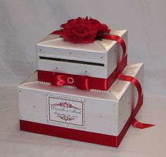 Red and White Wedding Card Box Red от ExoticWeddingBoxes на Etsy