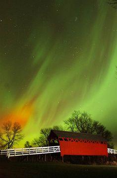 November 2004 aurora over a covered bridge at Wilkinson Pioneer Park in Rock Falls, Iowa.
