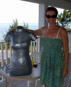How to make a duct tape dress form. Use for fitting clothes when you need an exact body double. Step by step with photos and advice along the way.