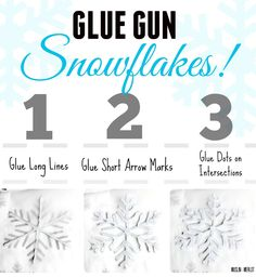 Glue Gun Snowflake Craft step-by-step - This can also be done with regular school glue.
