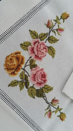 This Pin was discovered by Mel Just Cross Stitch, Cross Stitch Borders, Cross Stitch Flowers, Cross Stitch Designs, Cross Stitch Patterns, Cross Stitch Embroidery, Embroidery Patterns, Hand Embroidery, Hobbies And Crafts