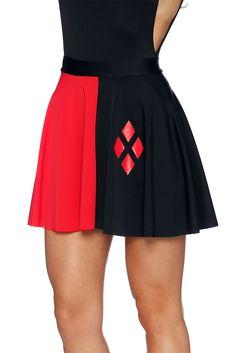 Harley Quinn Pocket Skater Skirt (AU $65.00) by Black Milk Clothing