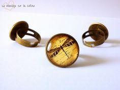 bague bronze cabochon 18 mm libellule parchemin