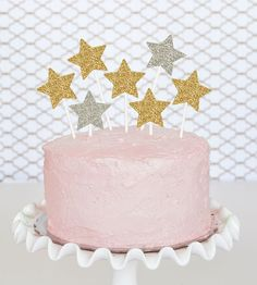 Gold Star Cupcake Toppers DIY Twinkle Twinkle Litter by ModParty
