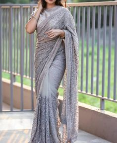 RE - Stylish Grey Net Sequence Thread embroidered Saree - Party Wear Sarees - Sarees - Indian Fancy Sarees Party Wear, Saree Designs Party Wear, Indian Party Wear, Indian Wear, Net Saree Designs, Wedding Saree Blouse Designs, Party Sarees, Fancy Party, Indian Style
