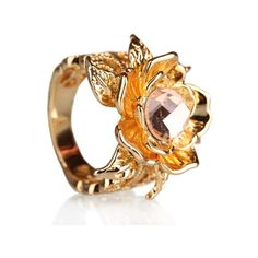 18 Kt Yellow gold rose cut natural citrine lotus ring on sale, Hurry!