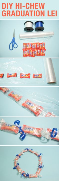 MAN-GO make your own DIY Hi-Chew Graduation Leis in 4 simple steps! All you need is Hi-Chew, clear plastic wrap and ribbons. Step 1: Unroll plastic wrap and place Hi-Chew pillow pack in a row. Step 2: Roll Hi-Chew in plastic wrap. Step 3: Tie ribbons and curl ends. Step 4: Tie off the lei and congrats on graduating!