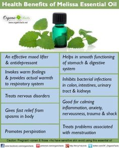 Health benefits of melissa essential oil can be attributed to its properties as an antidepressant, cordial, nervine, emmenagogue, sedative, antispasmodic, stomachic, antibacterial, carminative, diaphoretic, febrifuge, hypotensive and sudorific