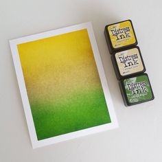 Mustard Seed, Antique Linen, Mowed Lawn. Distress ink blend - thecoloursofmagic
