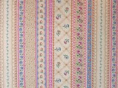 Delicate Floral Stripe Fabric by Joan Kessler Quilting Weight