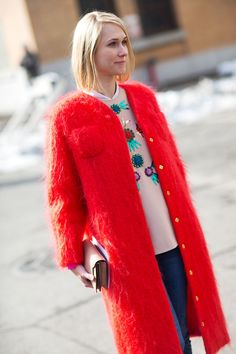Red & well embellished at #NYFW #Fall2014 #streetstyle #chic #fashion