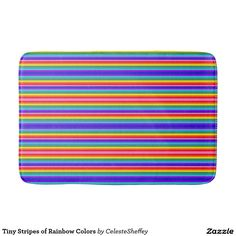 Tiny Stripes of Rainbow Colors bath mat with matching shower curtain