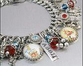 Peter Rabbit Charm Bracelet, Silver Charm Bracelet, Peter Rabbit Jewelry, Beatrix Potter Charm Bracelet