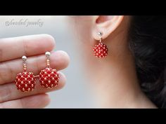 Berries beaded bead earrings. How to make jewelry. Beading tutorial - YouTube Beaded Bead, Beaded Rings, Beaded Bracelets, Handmade Bracelets, Earrings Handmade, Handmade Jewelry, Tatting Jewelry, Bead Jewellery, Beaded Jewelry Patterns