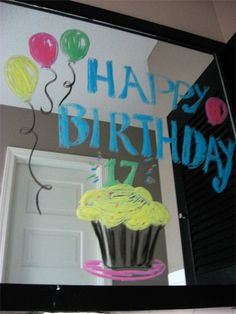 Window markers on mirror for Birthday surprise! by Sissy17