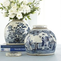 Blue and White is a classic combination for sure...but we are seeing more  and more of it in design every day and we think it's fabulous...  We have jars similar to these in the shop...  How crazy are you for blue and white?  Have an awesome weekend and now...  It's your turn. Let's talk!