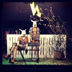 Showcase new Autumn fall winter season. #retro #retail #autumn #vintage #visualmerchandising #rabbit #upcycle #industrial #pallet