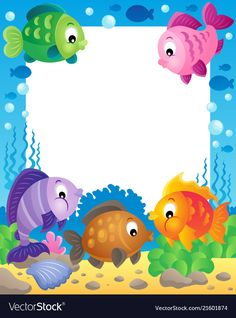 Illustration of Fish theme frame vector art, clipart and stock vectors. Borders For Paper, Borders And Frames, Diy And Crafts, Crafts For Kids, Boarder Designs, Sea Theme, Fish Theme, Class Decoration, Summer Birthday