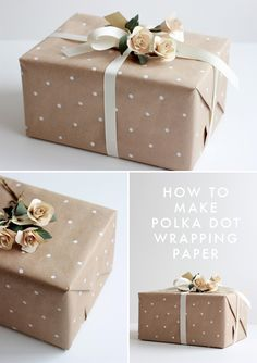 make polka dot wrapping paper with a pencil eraser. love the neutral colors in this example. #giftwrap