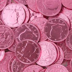 Dark Pink Chocolate Coins #chocolate #candy #milk_chocolate