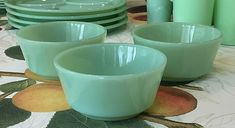3 Fire King Jadeite Straight Sided Cereal Cottage Cheese Bowl ~ Jadite Green