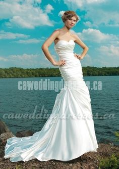 Mermaid with Ruched Asymmetrical Pleated Style