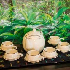 Tea set -white and Platinum - OrganicTeaEtc