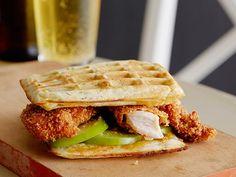 Crispy Chicken and Scallion Waffle Sandwich recipe from Jeff Mauro via Food Network