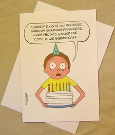 Rick and Morty Birthday Card. Morty's Birthday Wisdom. Regular size card and mini-version. A Lunar Eclipse cartoon birthday card. by ALunarEclipseCards on Etsy