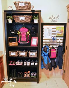 Lookie What I Did: My Laundry Room Makeover ~ I Love this idea of organization for the shoes, and school stuff etc!