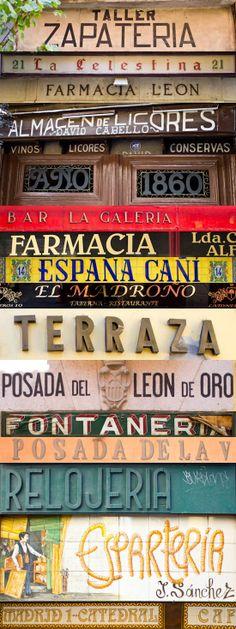 Varios rótulos de Madrid, en los que son típicos de comercios tradicionales y la mayoría no son luminosos. Alberto Soto.            Madrid Vintage