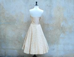 1950s wedding dress  champagne satin and ivory by circa1955vintage, $225.00
