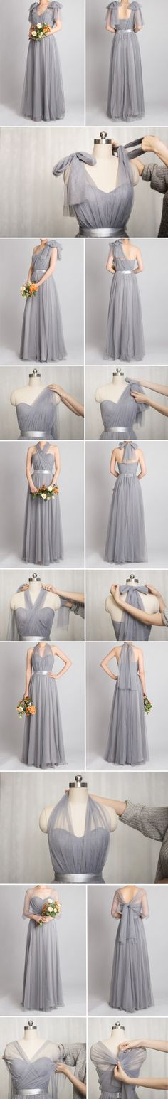 grey convertible bridesmaid dresses with tutorial