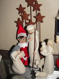 Elf pausing to remember the real meaning of Christmas.