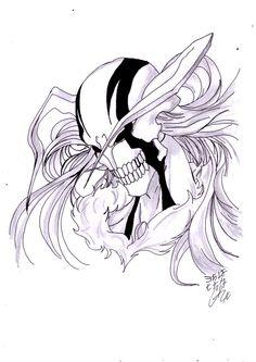 Bleach Drawing, Mask Drawing, Bleach Fanart, Bleach Manga, I Love Anime, Awesome Anime, Tattoo Finder, Ichigo Hollow Mask, Chest Piece Tattoos