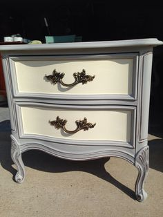 Cute French provincial night stand! ASCP Paris grey and old white!