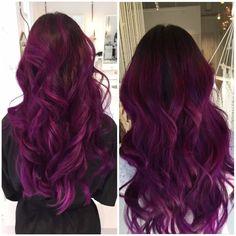 Balayage Hair Purple, Hair Color Purple, Sunset Hair, Wine Hair, Cute Hair Colors, Dream Hair, Hair Inspiration, Cool Hairstyles, Hair Makeup