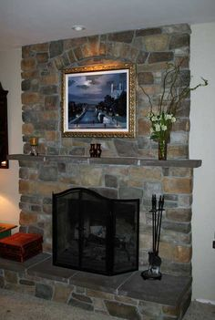 Fireplace Resurfacing With A Tv And Wood Stove Insert Like The Color Of Stone