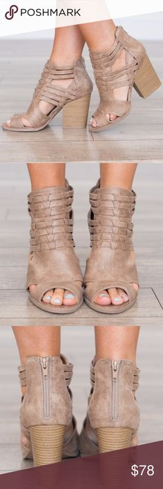 """COMING SOON!  Taupe Chunky Booties Taupe open-toe bootie - perfect with jeans, shorts or a dress! Super flattering! Faux suede material, chunky 4"""" Heel. Twilight Gypsy Collective Shoes Ankle Boots & Booties"""