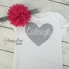 PERSONALIZED SILVER or GOLD glitter shirt bodysuit, pink flower headband bow newborn infant baby toddler little girl, heart Valentine's Day onesie by HoneyLoveBoutique