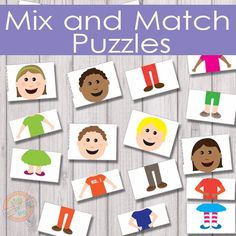 6 adorable characters and 216 different combinations to make them with these mix and match puzzles!