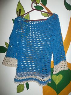 Remera al crochet combinada mangas al codo en hilo de algodon