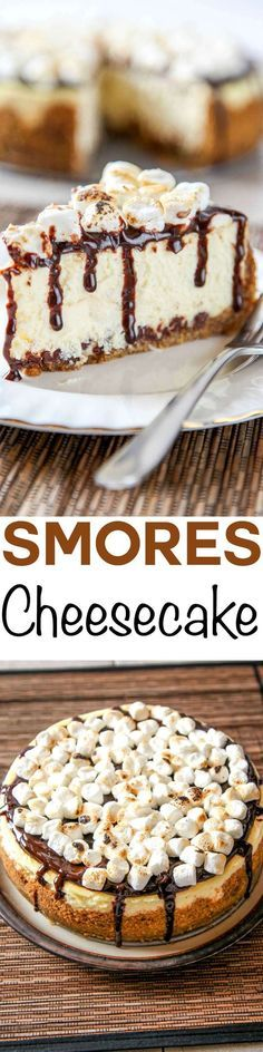Smores Cheesecake: A graham cracker crust with marshmallows and chocolate baked right in, topped with smooth creamy cheesecake and toasted marshmallows. Your favorite summer treat no campfire required!