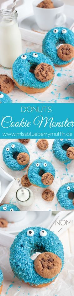 Omnomnomnom! Es gibt nicht nur Kekse, sondern Krümelmonster Donuts! <3  //Cookie Monster Donuts (Party Top Birthday)