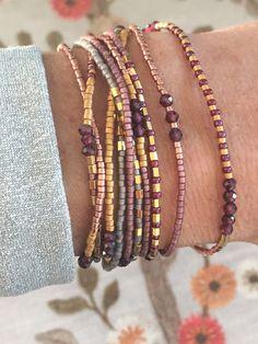 Set of two Boho bracelets Garnet and gold plated seed beads – Diy Bracelets İdeas. Seed Bead Bracelets Tutorials, Beaded Bracelets Tutorial, Bracelet Designs, Handmade Bracelets, Wrap Bracelets, Colorful Bracelets, Making Bracelets With Beads, Bangles, Handmade Beaded Jewelry