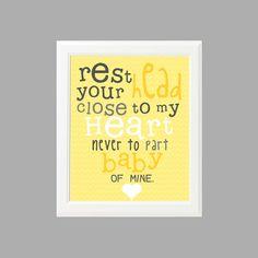 PRINTABLE - Rest Your Head - 8x10 Yellow and Gray Nursery Print (no.003). $10.00, via Etsy.