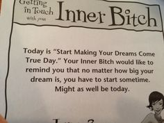 "Stop by A Totally Unique Beauty Boutique in Palm Harbor, FL for the 'Inner Bitch"" quote of the day! :-)"