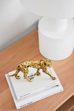 Your favourite gold cheetah sculpture is back in stock. Styled on our Timber Freja Bedside Table. Shop this look in store or via our website