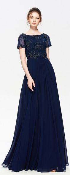 Navy blue modest bridesmaid dresses with sleeves beaded maid of honor dresses long