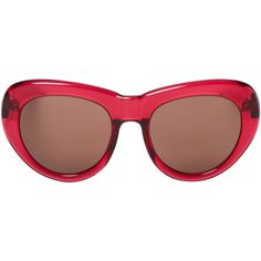 Dries van Noten Women's Chunky Tinted Cat Eye Frame - Red featuring polyvore women's fashion accessories eyewear sunglasses red red cateye sunglasses red glasses red cat eye glasses uv protection glasses red sunglasses